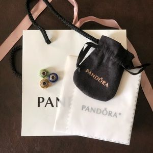 3 Pandora Beads: Blue, Green, & Orange